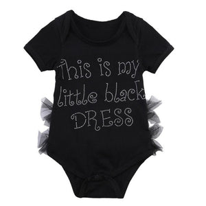 """This is my little black dress"" romper"
