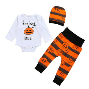 """Halloween Pumpkin Baby"" Long Sleeve 3Pcs Bodysuit Outfit Set"