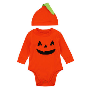 """Halloween Pumpkin"" Romper Jumpsuit Plus Hat"