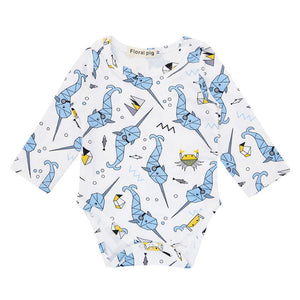 Baby Rompers For 3-18 Months Newborn Infant Baby Boy Long Sleeve Ocean World Fish Print Romper Outfit Clothes
