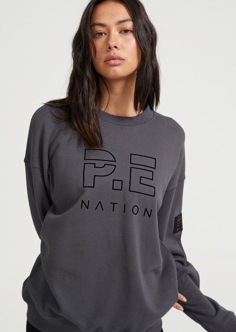 PE NATION Heads Up Sweat in Charcoal
