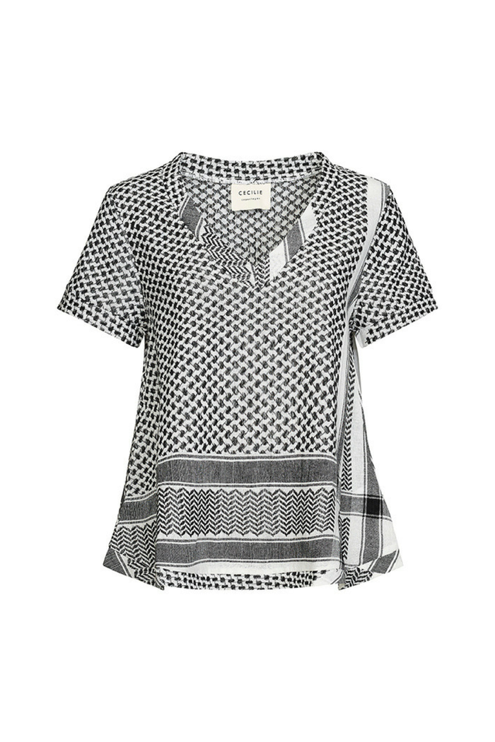 CECILIE COPENHAGEN SHIRT V SHORT SLEEVES BLACK & WHITE