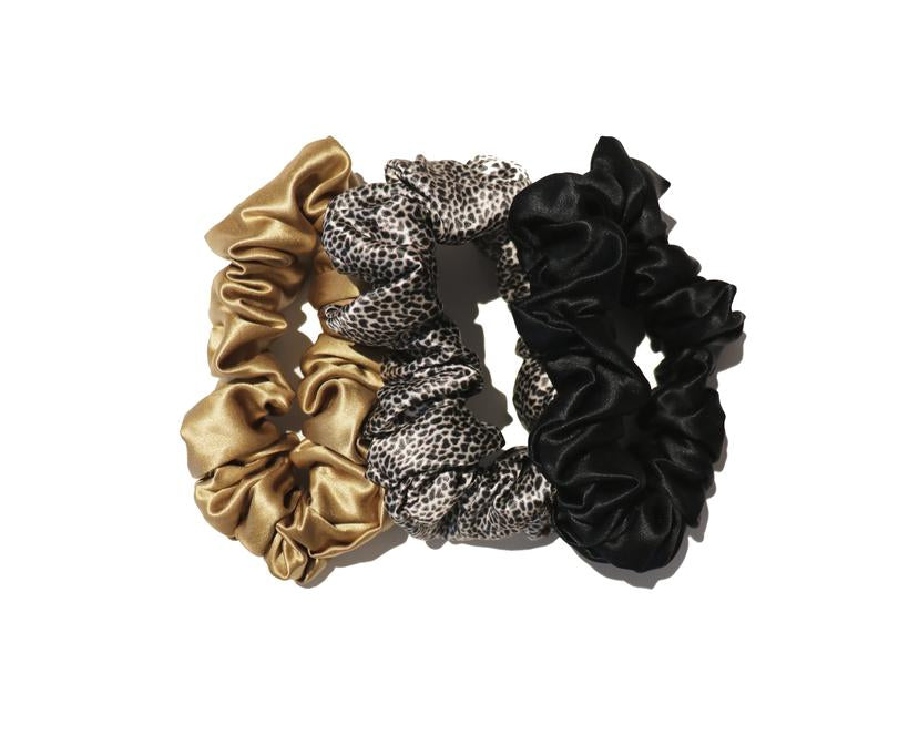 SLIP SILK SCRUNCHIES LEOPARD, GOLD, BLACK