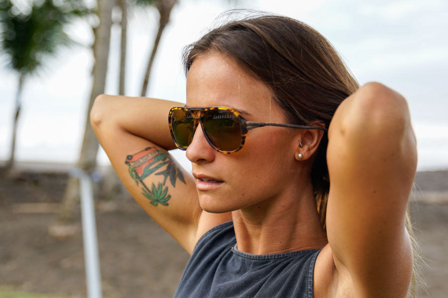 Tortoise_yellow  Ombraz Armless Sunglasses - Ombraz solve what frustrates you about sunglasses. Handmade frames attach directly to an adjustable cord that keeps the sunglasses securely & comfortably in place. 2019 Sunglass of the year from Backpacker Magazine, Ombraz are lightweight, easy to pack & stow & are equipped with world-class polarized Zeiss lenses. Armless sunglasses with a built-in cord.