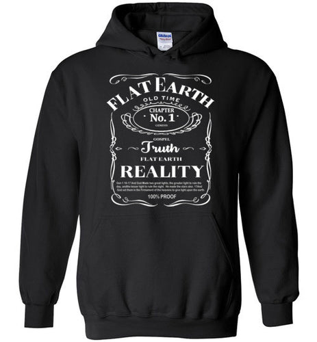 Flat Earth Reality White Print Hoodie