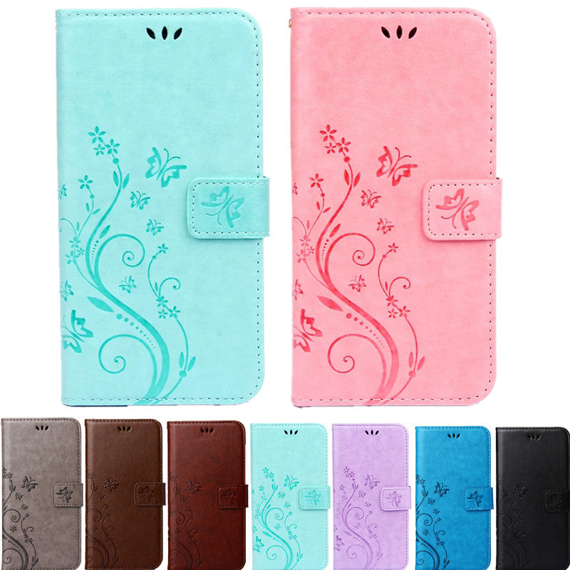 Print Butterfly Flower Leather Flip Book Wallet Soft Cover for Apple Iphone - Wise Superstore
