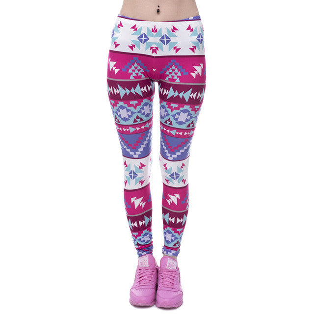 Women Aztec Round Printing  High Waist  Leggings