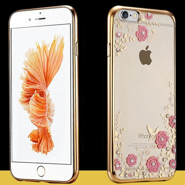 Luxury Secret Garden Flowers Rhinestone Cell Phone Cases For IPhone 6 6S - Wise Superstore