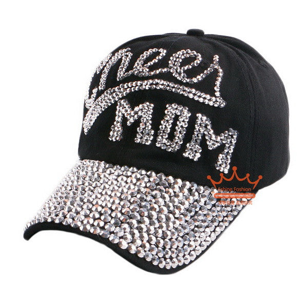 "Show Support with variations of sport  ""Mom"" baseball caps"