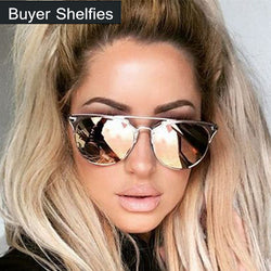 Luxury Brand Design Cat Eye Sunglasses Women Mirror Aviator