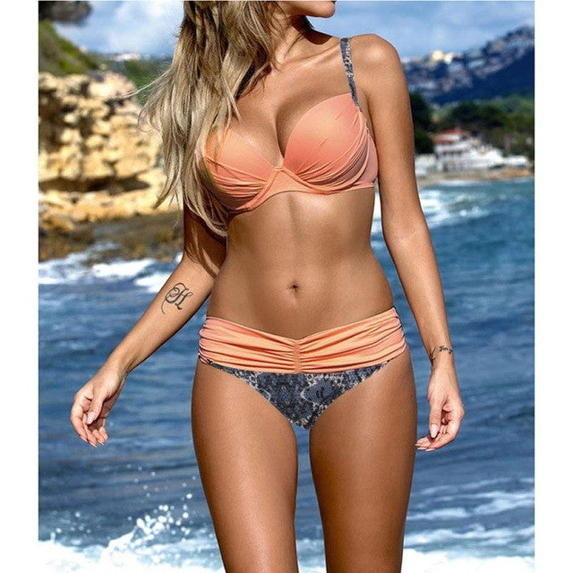 Two-piece Sexy Women bikini Set Push-up Padded Bra