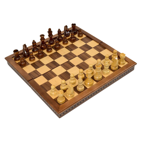 "15"" Wood Folding Chess Set - Ebony"