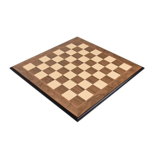 "Walnut Wood Chess Board - Decorative Edge with 2"" Squares"