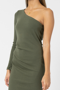 Belle One Shoulder Dress - Khaki