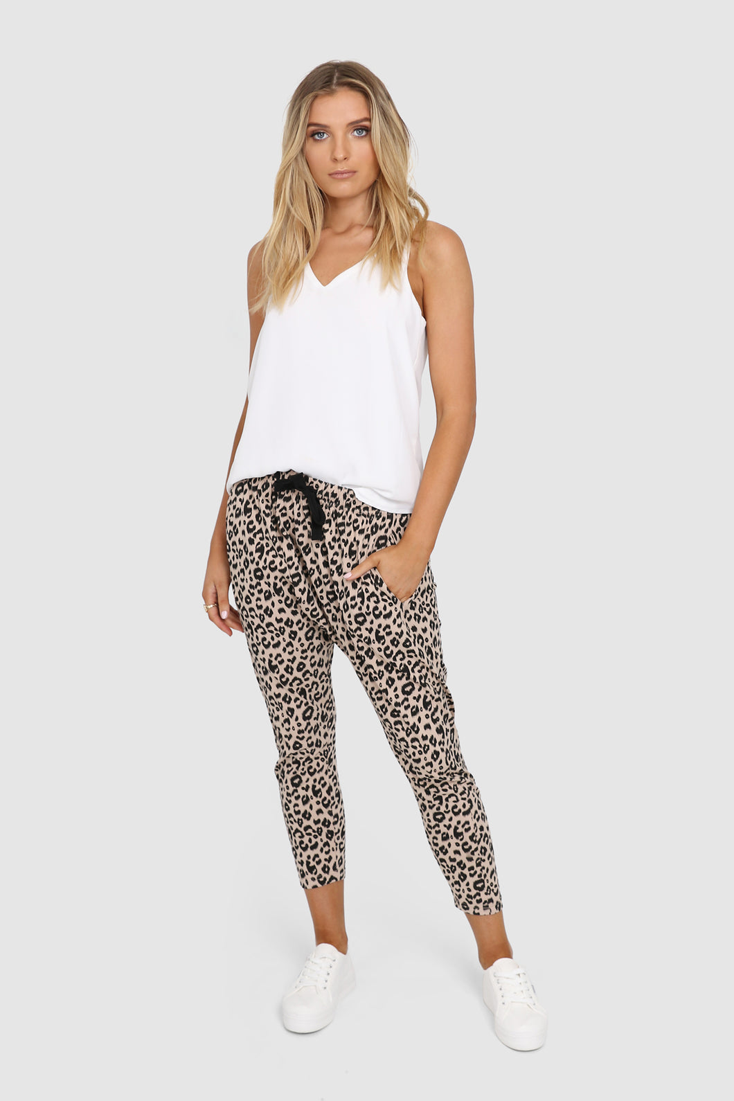 Olympia Slouch Pants- Nude Leopard