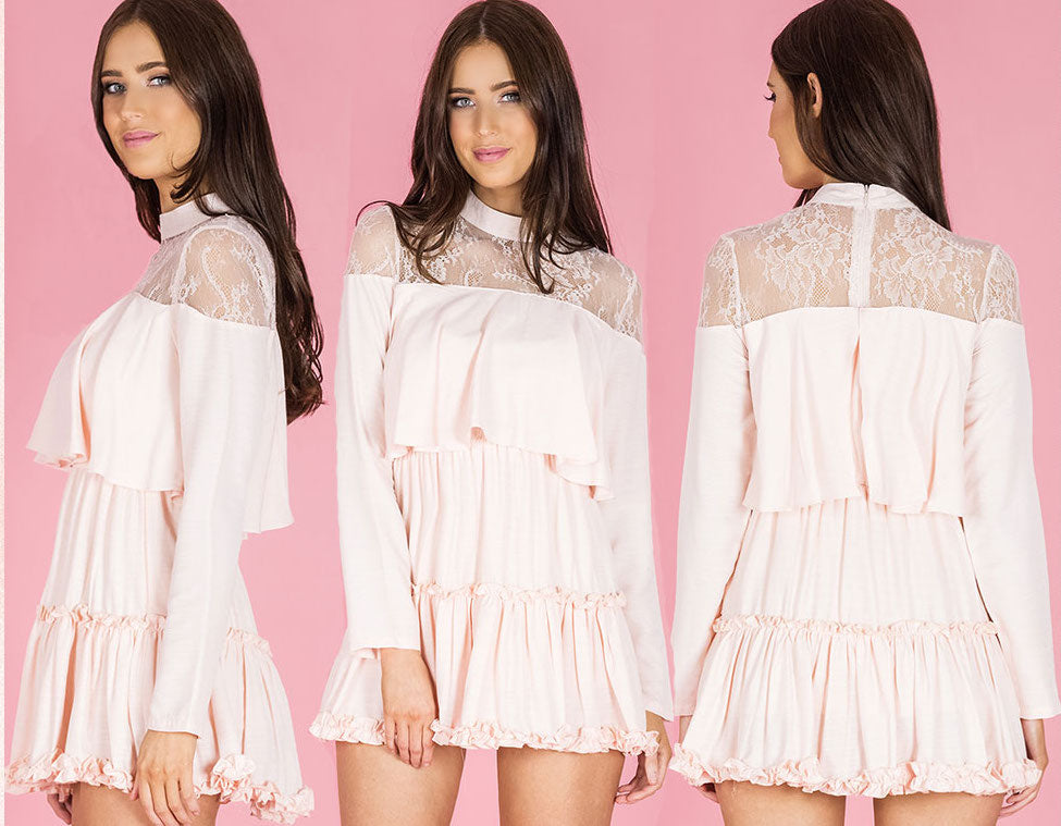 Lace Panel Dress With Frill Details -BLUSH