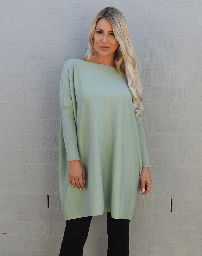 """Chloe"" Weekend Jumper   ""Mint Boat Neck Style"""