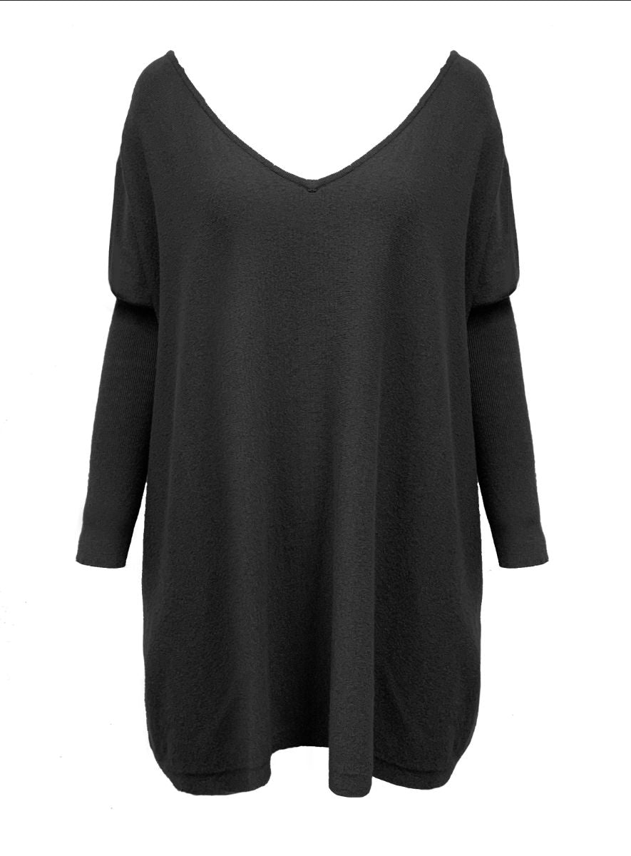 "Faith"" Weekend Jumper   ""Black V Neck Style"""