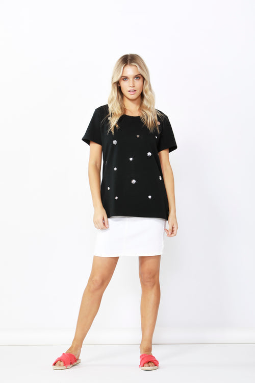 Sequin Cara Tee -Black