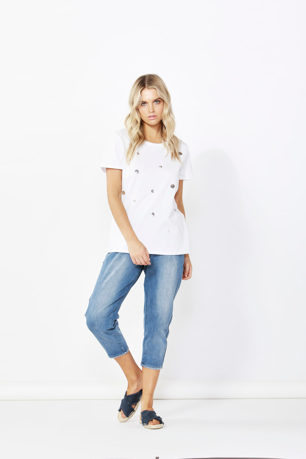 Sequin Cara Tee - White