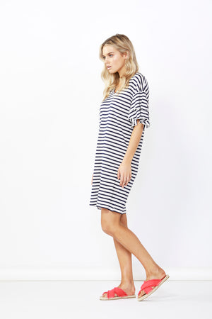 SYDNEY DRESS - WHITE/INK