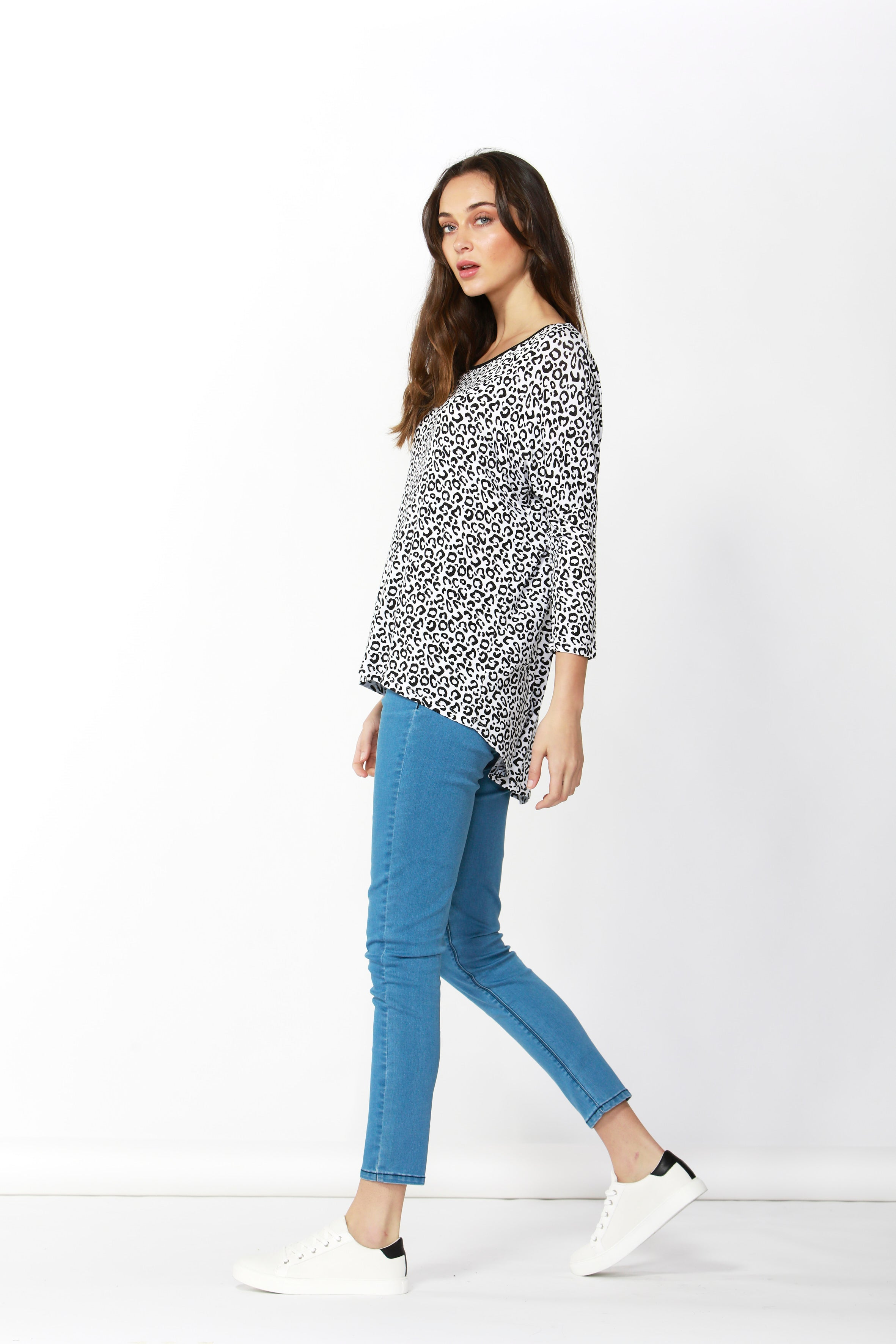 Milan 3/4 Sleeve Top - White Leopard Print