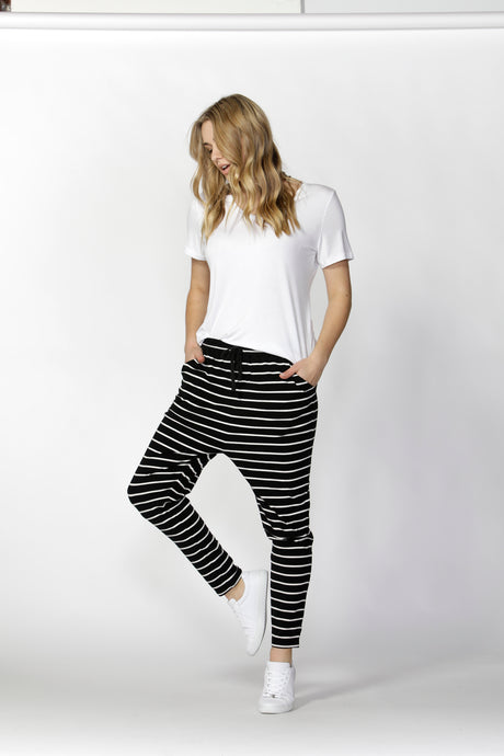 PRE ORDER ITEM  JADE PANT - BLACK & WHITE STRIPE