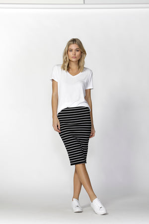 Alicia Midi Skirt-black & white stripe