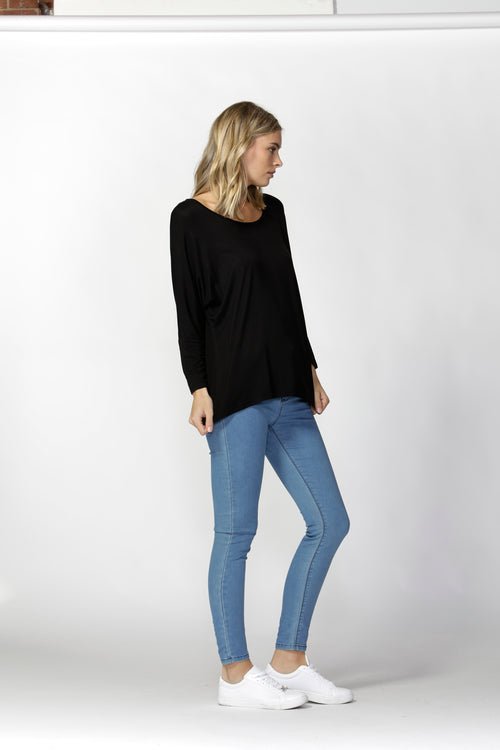 Milan 3/4 Sleeve Top - BLACK