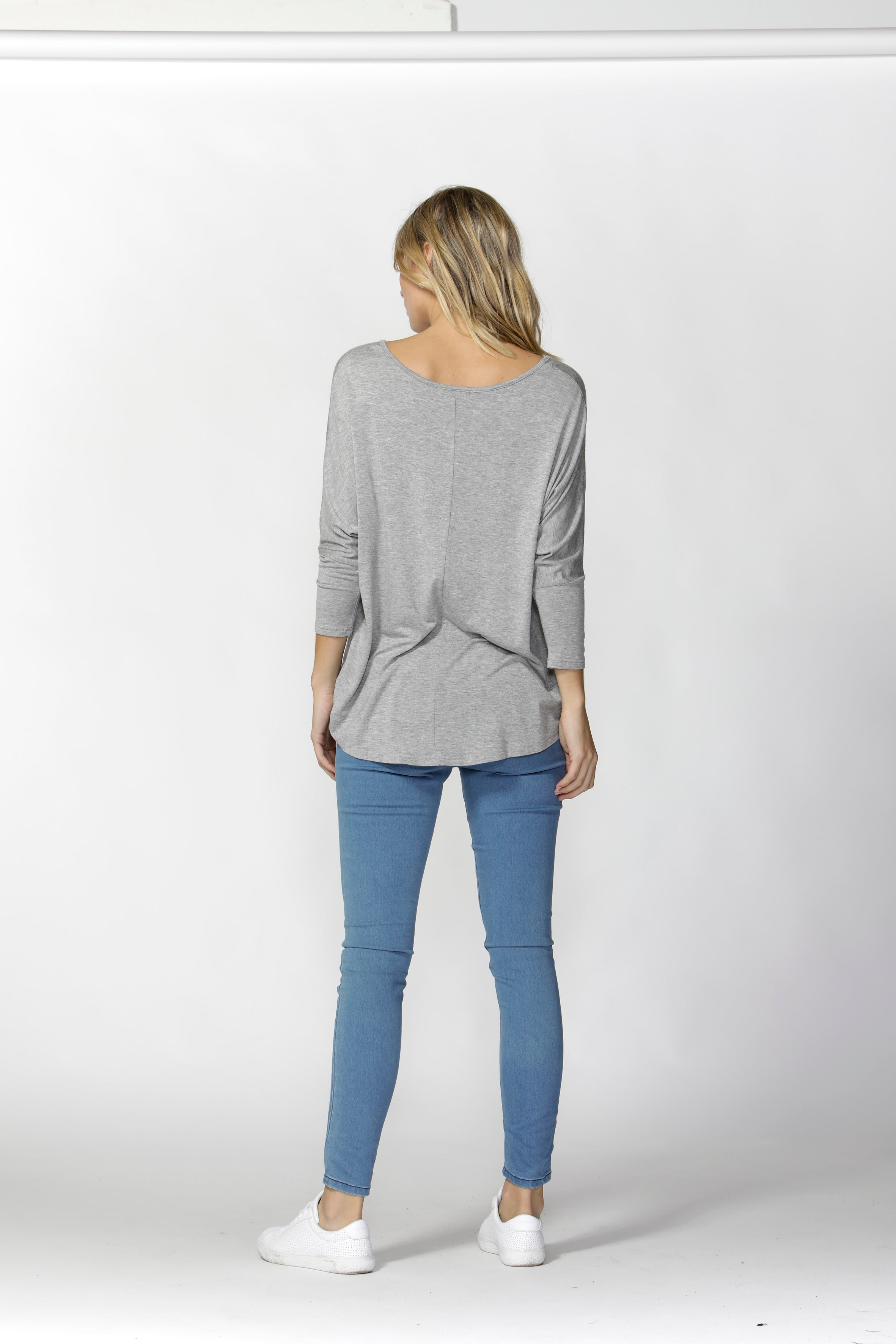 Milan 3/4 Sleeve Top - SILVER GREY