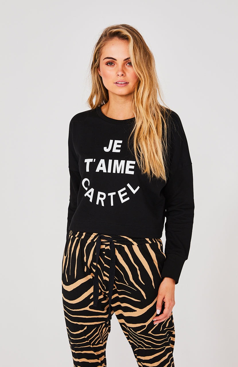JE TAIME CROPPED SWEATER - BLACK