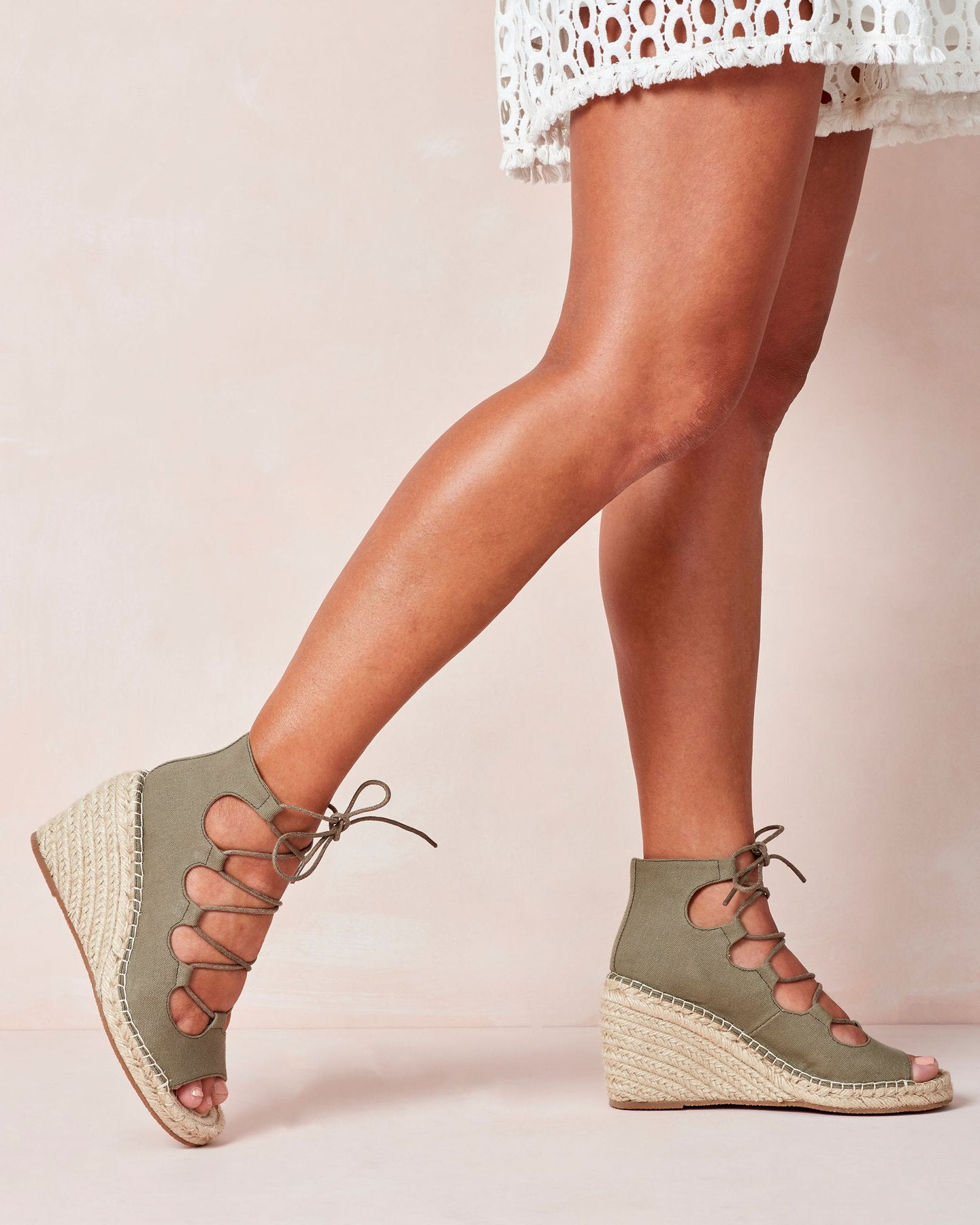 Vine Canvas Wedge Khaki