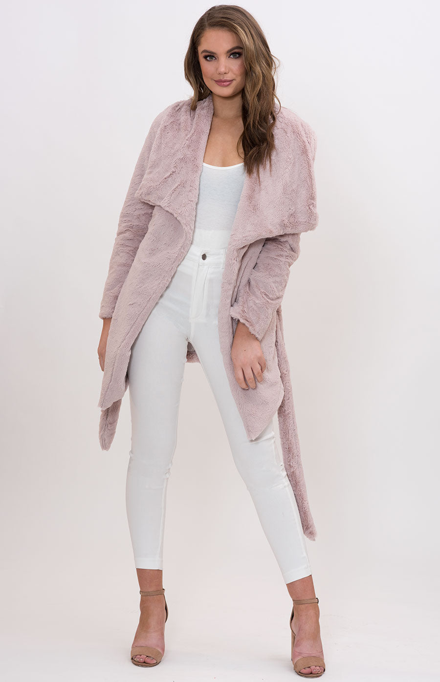 Billie Waterfall Lapel Fur Jacket-Musk