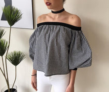 Black and white gingham Off the shoulder top