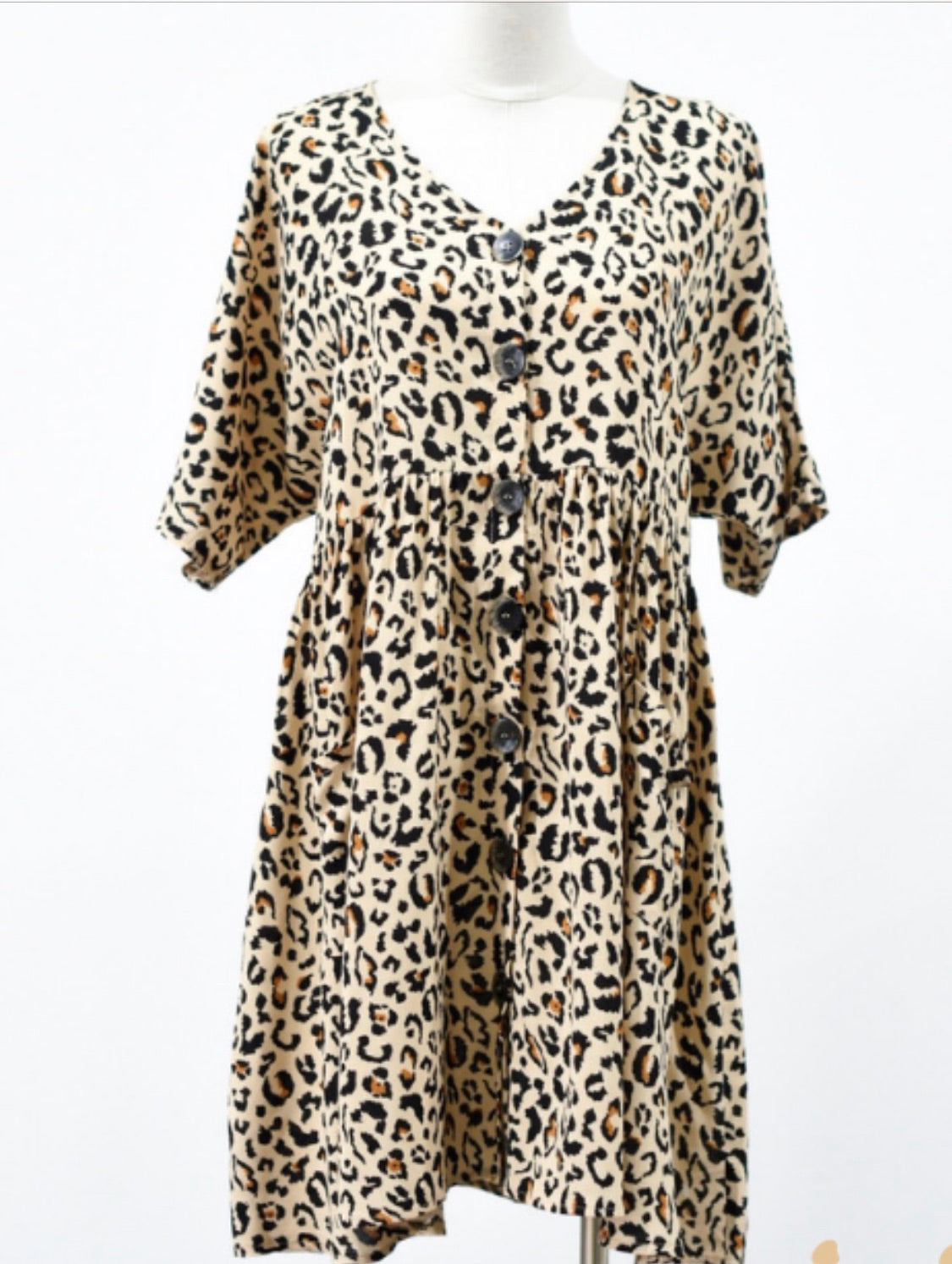 Tiffany Leopard  Dress - Tan