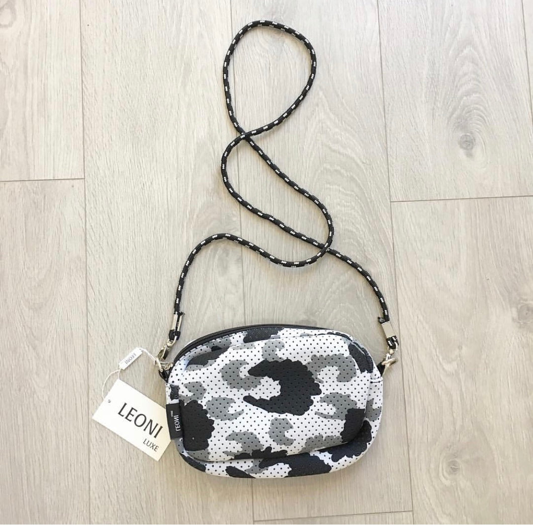 Neoprene Crossbody Bag - White/Grey/black Leopard