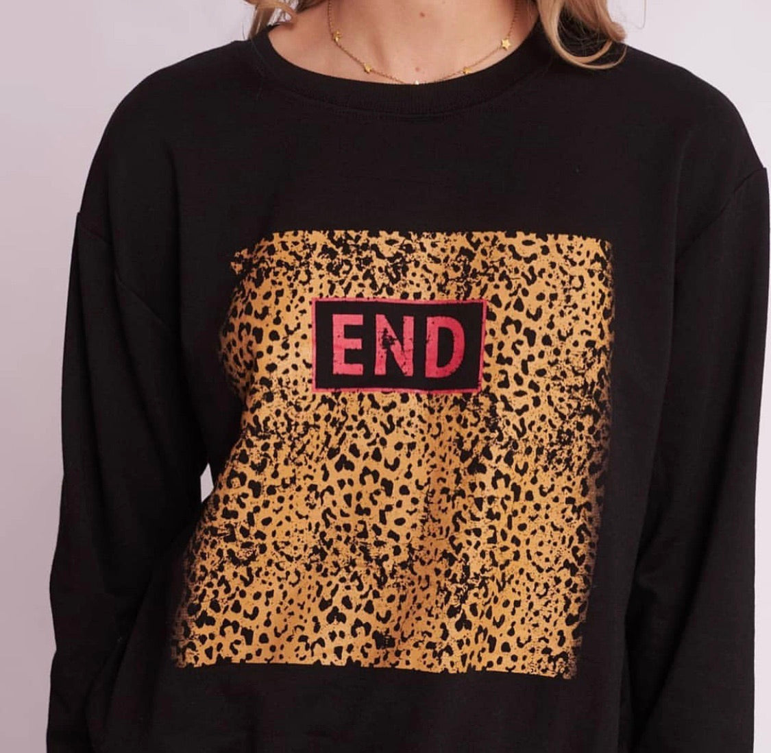 End Sweater - Black/Leopard