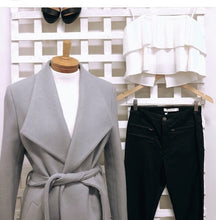 Bella Wrap Coat With Tie-On Belt -Grey
