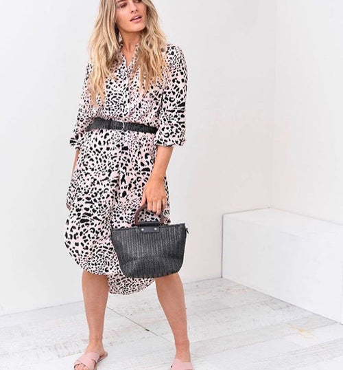 Coco Leopard Shirt Dress -Blush