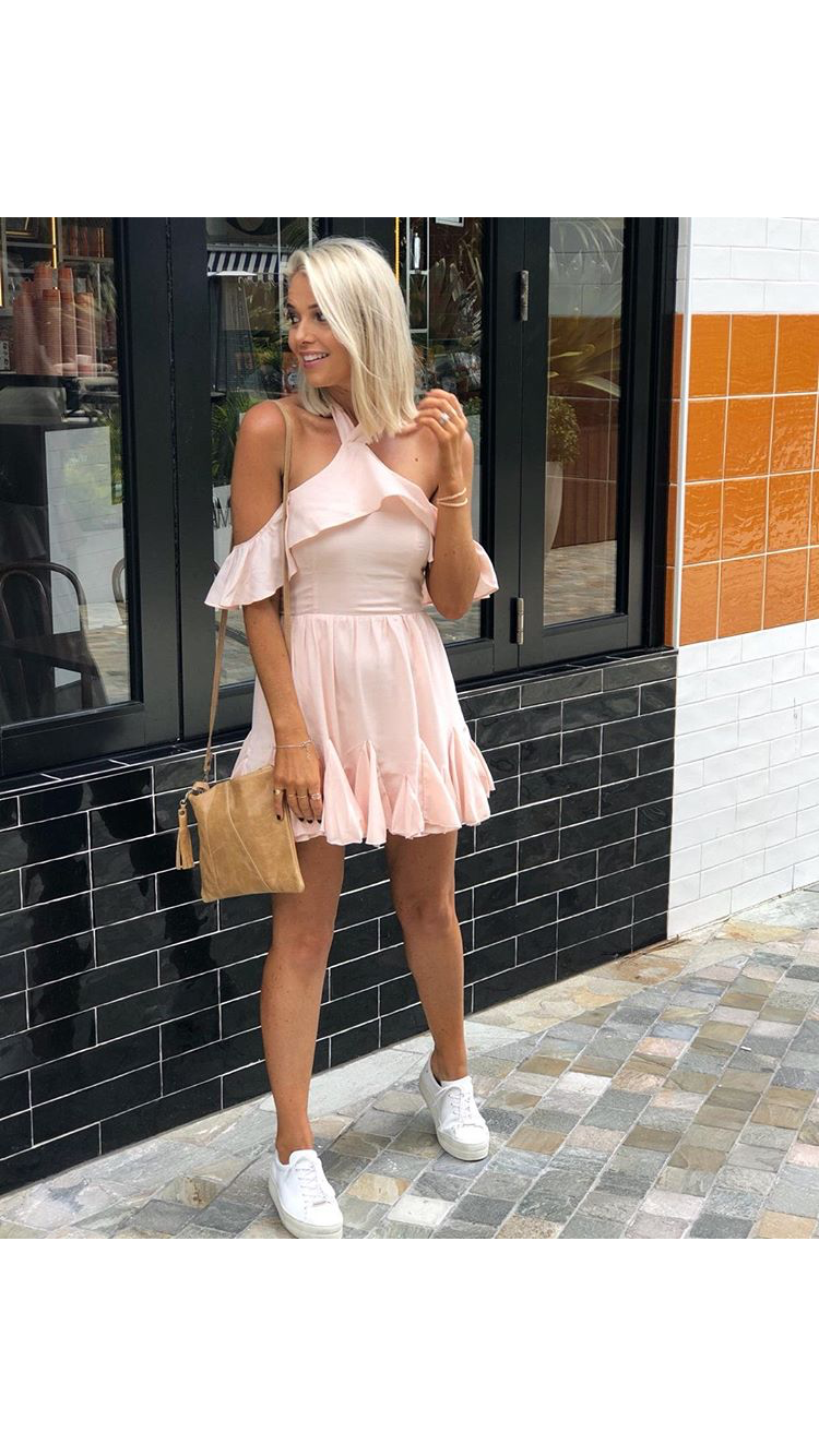 Pleated Ruffle Skirt Halter Dress-BLUSH