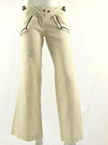 Sass & Bide Cream Black Slim Fit Flared Cotton Jeans Pants Size EURO 36 US 0