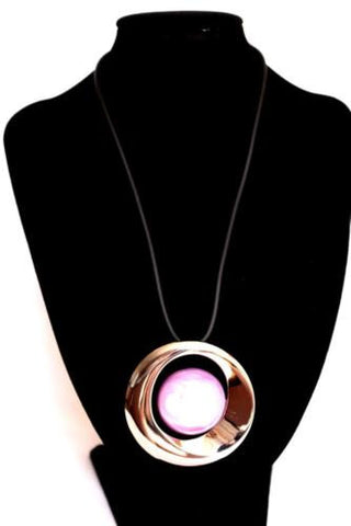 Silver Metal Round Mauve Pink Tone Pendant Fashion Necklace BNWT