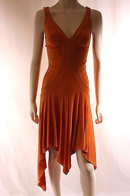 Christopher Chronis Orange Sleeveless Asymmetric Hem Party Dress Size 2