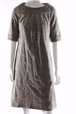 Veronika Maine Short Sleeve Brown Check Shift Dress Size 8