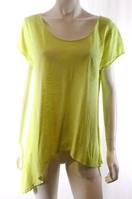 Sass & Bide Fluro Yellow Sing Brother Short Sleeve Asymmetric Knit Top Size S