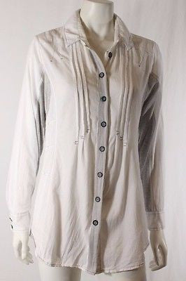 Verge NZ Designer White Grey Long Sleeve Button Down Whiskey Shirt Sz 12 M