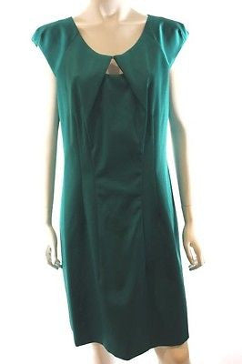 Veronika Maine Green Cap Short Sleeve Fitted Corporate or Party Dress Size 12