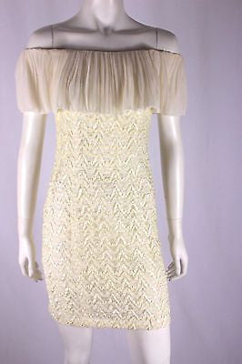 Lisa Barron Cream White Silk Lace Off Shoulder Cocktail Mini Dress Size 8