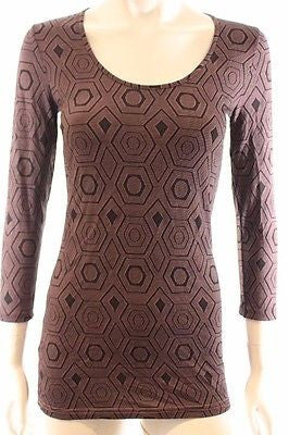 Metalicus Pink Black Geometric 3/4 Cropped Sleeve Stretch Knit Top One Size