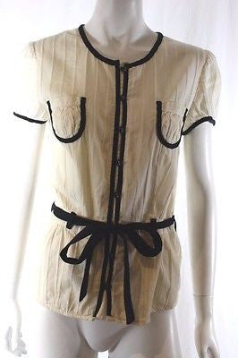Sass & Bide Cream Black Short Sleeve Button Down Shirt with Tie Waist Sz 38 US 2